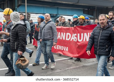 Genoa italy, January 27, 2016: ILVA, the procession of the metal workers stop's the traffic of the city Genoa
