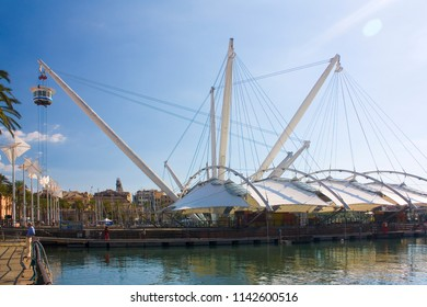 Genoa, Italy - Jule 25, 2018: Bigo in the port of Genoa is a panoramic lift or elevator which revolves around itself giving a 360 degree view of the old port