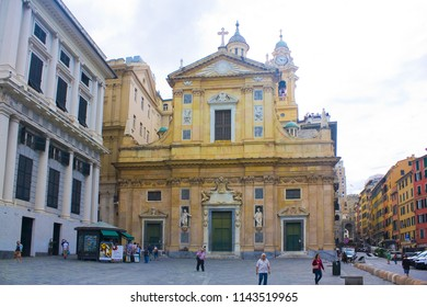Genoa, Italy - Jule 25, 2018: Jesus Church or Chiesa del Gesu at Piazza Matteotti in Genoa