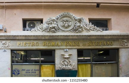 Genoa, Italy - Jule 25, 2018: Fragment of ancient pharmacy in Old Town of Genoa