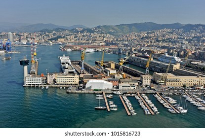 GENOA, ITALY - JULY 18, 2010: the control tower of the pilots of the port before the collapse following the collision with the RORO Jolly Nero ship. In the picture, the tower and the Giano pier.