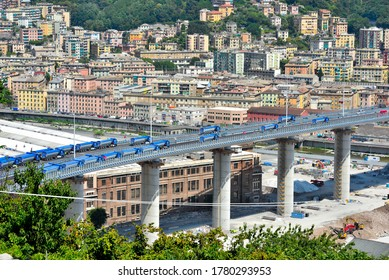 GENOA, ITALY, JULY 20 testing and load tests of the new genoa bridge with trucks and radio-controlled trolleys July 20 2020 Genoa Italy