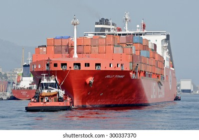 GENOA, ITALY - JULY 21, 2015: The Jolly Titanio, built by the Korean shipyard STX Offshore and Shipbuilding Jinhae on behalf of Ignazio Messina & C of Genoa, is at sea.