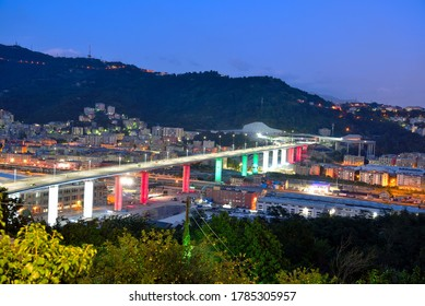 GENOA, ITALY, JULY 26 construction work on the new San Giorgio motorway bridge is finishedJuly 26 2020 Genoa Italy