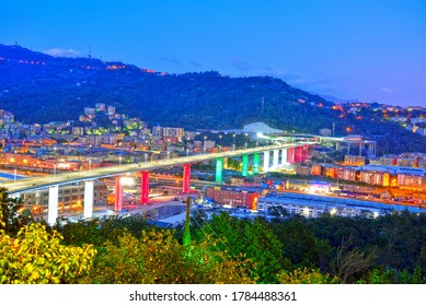 GENOA, ITALY, JULY 26 inauguration of the new highway bridge on 3 august 2020 will be called san giorgio July 26 2020 Genoa Italy