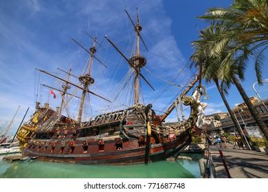 GENOA, ITALY - July 27, 2017: Galleon Neptun in Porto antico. Replica of a 17th century Spanish galleon built in 1985 for Roman Polanski's film Pirates.