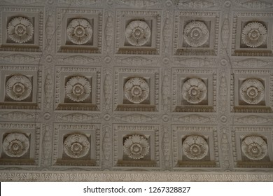 Genoa, Italy - July 29, 2017: Coffered ceiling with floral ornament, Palazzo Reale