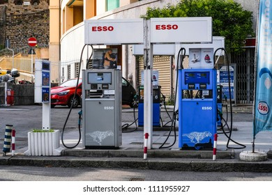 Genoa, Italy - June, 12, 2018: petrol station in Genoa, Italy