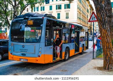 Genoa, Italy - June, 12, 2018: Bus station in Genoa, Italy