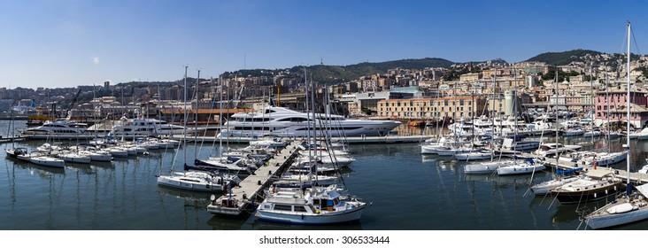 GENOA, ITALY - JUNE 2, 2015: Boats at Marina Molo Vecchio in Genoa, Italy. Marina was founded in 1997 in the Old Port area.