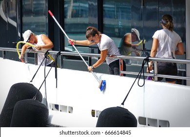 Genoa, Italy - June 22, 2017: Crew on board while cleaning the Yacht