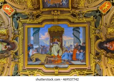 GENOA, ITALY, MARCH 13, 2016: view of a decorative ceiling of the palazzo doria tursi in the italian city genoa.