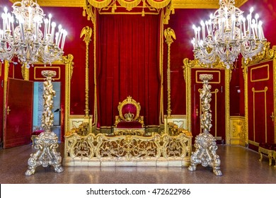 GENOA, ITALY, MARCH 13, 2016: view of a throne hall of the palazzo reale in the italian city genoa