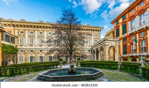 GENOA, ITALY, MARCH 13, 2016: View of a garden situated between palazzo bianco and palazzo doria tursi palace in Genoa, Italy