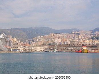 GENOA, ITALY - MARCH 16, 2014 - Since the construction of the new merchant harbour the old harbour called Porto Vecchio is still used for cruise ships and small boats