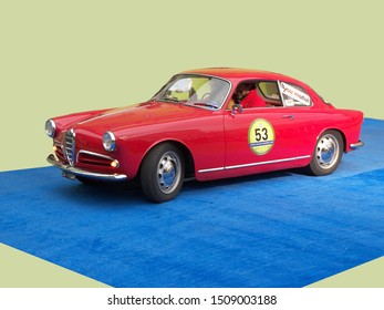 GENOA, ITALY - March 2009: Historical race Milan-Sanremo. From the front of this Giulietta sprint you can recognise all the main style lines of this car.