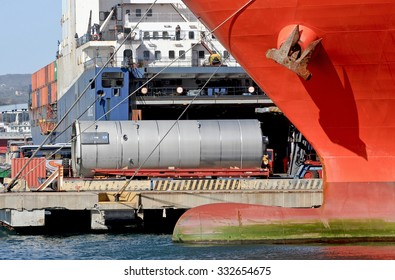 GENOA, ITALY - MARCH 27, 2015: The vessel CHODZIEZ a ro ro cargo ship. Boarding in the commercial port of Genoa in materials and industrial components.