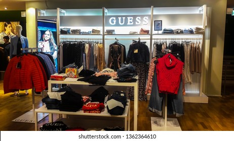 GENOA, ITALY, MARCH 28, 2019 -  Fashion Guess  brand shop in Genoa, Italy.
