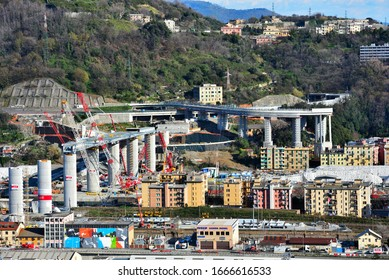 GENOA, ITALY, MARCH 7 works and reconstruction of the new highway bridge (ex morandi) which collapsed in August 2018 March 7 2020 Genoa Italy