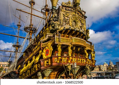 GENOA, ITALY - MARCH 9, 2018: Galleon Neptun in Porto antico in Genoa, Italy. It is a ship replica of a 17th century Spanish galleon built in 1985 for Roman Polanski's film Pirates.