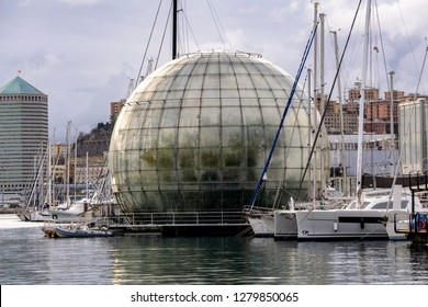 GENOA, ITALY - MARCH 9, 2018: Biosphere in Genoa port, Italy. Biosphere is a tropical ecosystem with over 150 different species, designed by Renzo Piano.
