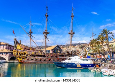 GENOA, ITALY - MARCH 9, 2019: Pirate ship built for Roman Polanski movie Pirates now docked at a port in Genoa, Italy