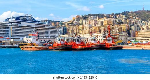 GENOA, ITALY - MARCH 9, 2019: Tugboats in the Genoa harbor, Italy
