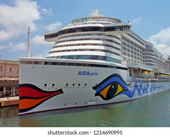 GENOA, ITALY - May 30, 2017: Aida perla on cruise terminal of Genoa on a sunny day
