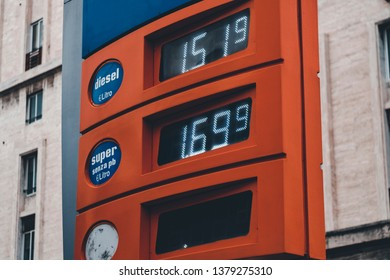 GENOA, ITALY - MAY 31, 2018: fuel prices on the singboard in Italy, Genoa on the 31 May 2018