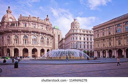 GENOA, ITALY - MAY 7, 2013 Panoramic view of De Ferrari square in Genoa, the heart of the city with the central fountain and the Liberty architecture of  the surrounding palaces