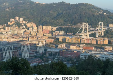 Genoa, Italy - October 12, 2018: On August 14, Morandi Bridge in Genoa, collapsed, sending vehicles and tons of rubble to the ground and killing 43 people