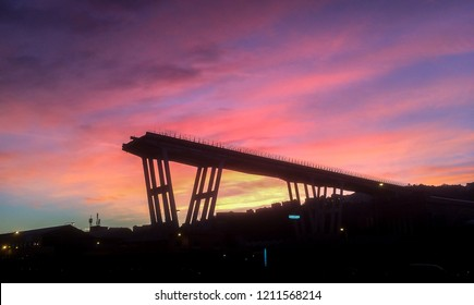 Genoa, Italy - October 24, 2018: What is left of west section of collapsed Morandi Bridge (Polcevera viaduct) connecting A10 motorway after structural failure causing 43 casualties on August 14, 2018.