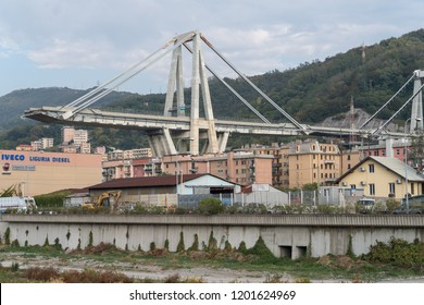 Genoa, Italy - October 9, 2018: On August 14, Morandi Bridge in Genoa, collapsed, sending vehicles and tons of rubble to the ground and killing 43 people.