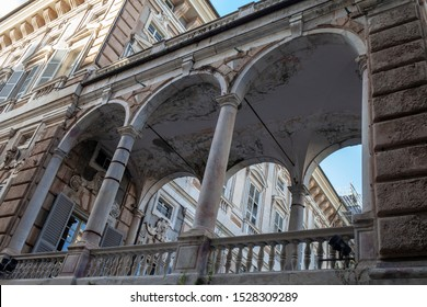 Genoa, Italy -  October 9 2019: istoric buildings at Garibaldi street (the golden road)