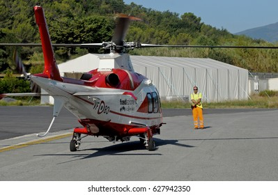 GENOA, ITALY - SEPTEMBER 16, 2012: The Agusta Westland 109 Power Grand helicopter purchased by the Carige Foundation in 2007, donated in 2008 to the Liguria Region, comes into service in April 2017.