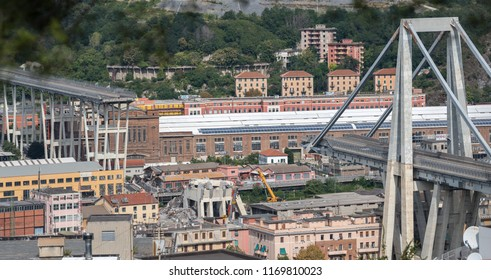 Genoa, Italy - September 2, 2018: What is left of collapsed Morandi Bridge connecting A10 motorway after structural failure during a thunderstorm and heavy rain causing 43 casualties on August 14