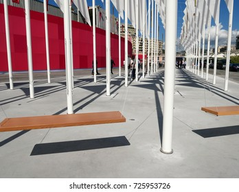 GENOA, ITALY - SEPTEMBER 21, 2017: 57th edition of the International Boat Show. In the picture, a project born from an inspiration by architect Renzo Piano and created by the Obr studio.