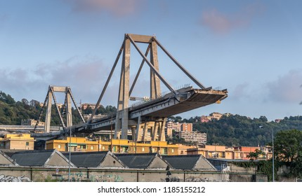 Genoa, Italy - September 21, 2018: What is left of collapsed Morandi Bridge connecting A10 motorway after structural failure during a thunderstorm and heavy rain causing 43 casualties on August 14