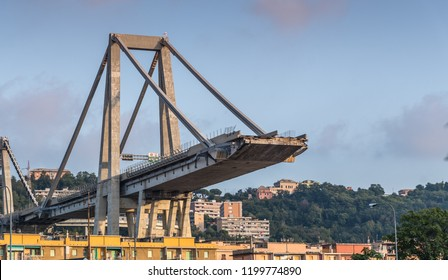 Genoa, Italy - September 21, 2018: What is left of est section of collapsed Morandi Bridge connecting A10 motorway after structural failure causing 43 casualties on August 14, 2018