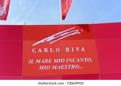 Genoa Italy, September 21-26, 2017. 57th Nautical Salon, dedicated to Carlo Riva: ingengnere, pioneer of the nautical world and patron of the construction company of the famous luxury motorboats.