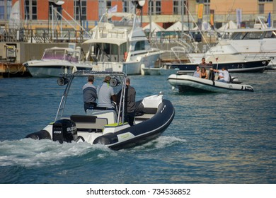 Genoa Italy, September 24, 2017. Boat Show 57: a crowd of visitors the nautical salon, they  try the boats they want to buy