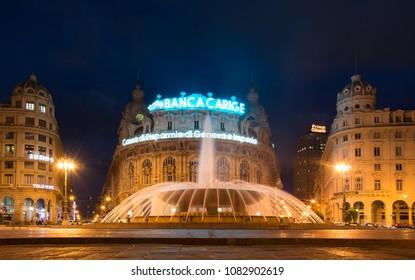 Genoa / Italy — September 29, 2016: night view of Piazza de Ferrari, Genoa, Italy