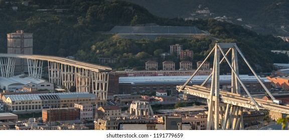 Genoa, Italy - September 30, 2018: What is left of collapsed Morandi Bridge connecting A10 motorway after structural failure during a thunderstorm and heavy rain causing 43 casualties on August 14