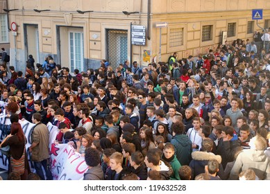 GENOA, ITALY-NOV. 14: General strike against the policies of cutting and austerity of European governments in particular against the cuts and privatization of schools, in Genoa, Italy on Nov 14, 2012