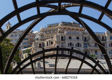 Genoa Italy-Prince's Palace circa June 2017 from the Italians Garden (floreal gallery structure) a look at the old Hotel Miramare (now transformed into apartments)
