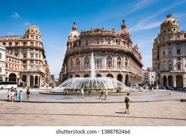 Genoa, Liguria / Italy - 07 08 2018: View of Piazza Raffaele de Ferrari, in the middle Palazzo della Nuova Borsa -  country stock exchange.