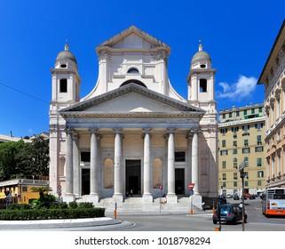 Genoa, Liguria / Italy - 2012/07/06: daylight view of Basilica della Santissima Annunziata del Vastato church