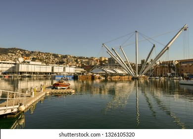 Genoa, Liguria / Italy - February 11 2018: Scenic view of the Old Port with the famous Bigo, an architectural structure designed by the Genoese architect Renzo Piano (1992)