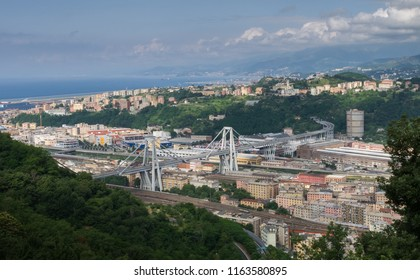 Genoa, Liguria, Italy - June 13 2010: Aerial view of Morandi bridge (Polcevera viaduct) connecting A10 motorway before the tragic collapse on August 14 2018. How it looked like before the disaster.
