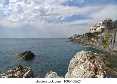 Genoa Nervi waterfront - Promenade and coastline - Ligurian sea - Italy